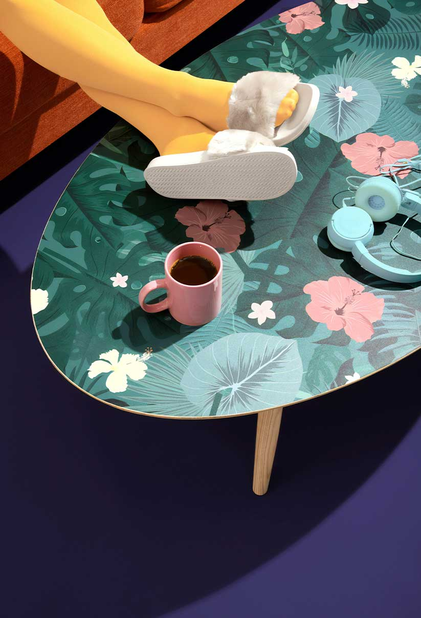 Modern room table and cup of coffee