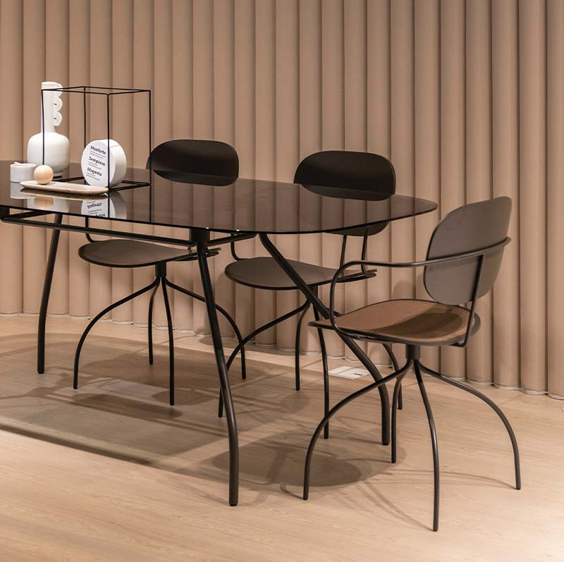 A glass dining table set